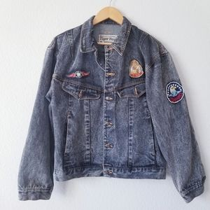 Vintage | Denim Jacket Air Force Patches Acid Wash